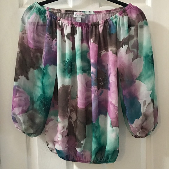 3addc9b41ac Sweet Pea Tops | Watercolor Floral Off Shoulder Blouse Xs | Poshmark